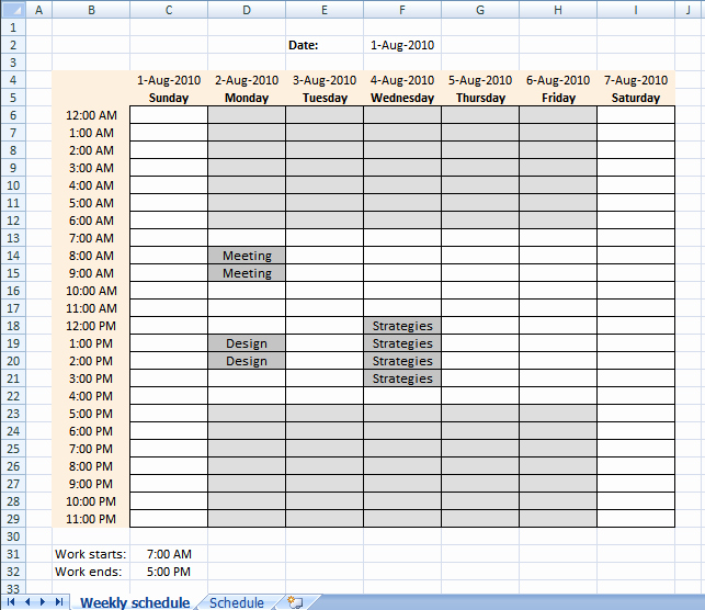 Weekly Schedule Template with Hours Beautiful Setting Up Your Work Hours In A Weekly Schedule