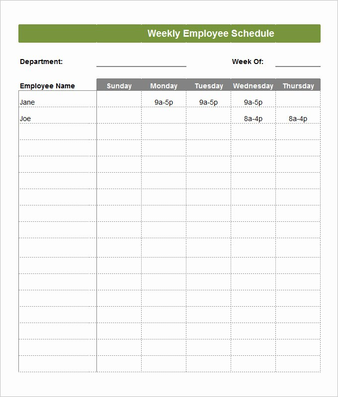 Weekly Staffing Schedule Template Beautiful Employee Schedule Template 14 Free Word Excel Pdf
