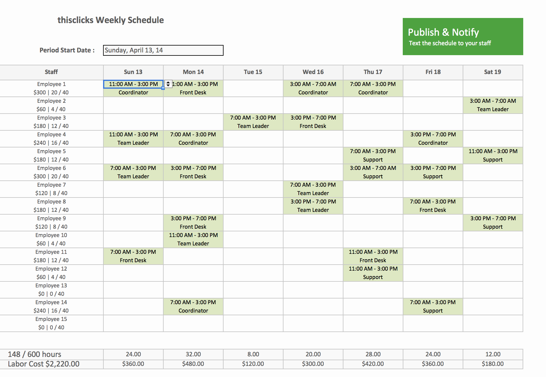Weekly Staffing Schedule Template Elegant Free Excel Template for Employee Scheduling