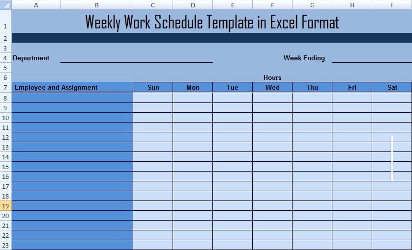 Weekly Staffing Schedule Template Elegant Work Schedule format for Project