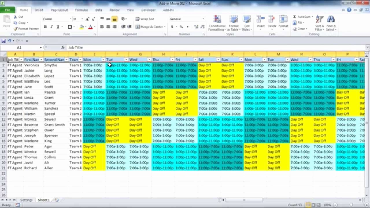 Weekly Staffing Schedule Template Fresh Creating Your Employee Schedule In Excel