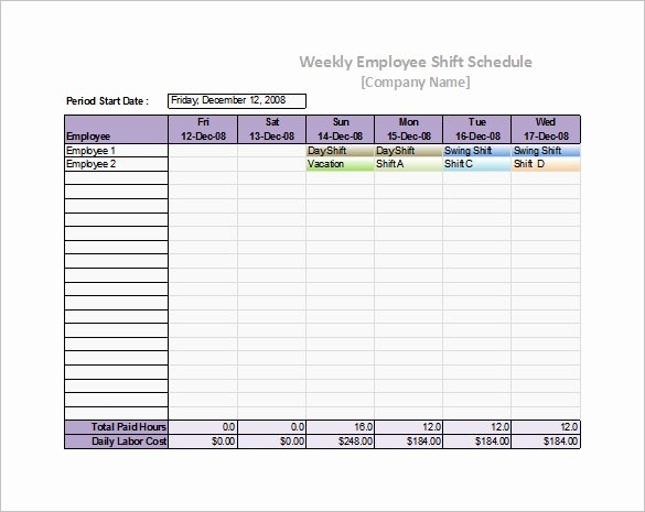 Weekly Staffing Schedule Template Lovely 53 Sample Schedule Templates