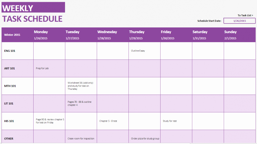 Weekly Study Schedule Template Awesome Student Weekly Schedule Template Haven