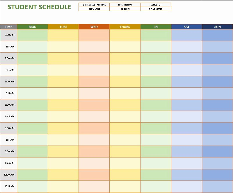 Weekly Study Schedule Template Elegant 11 Free Sample Class Schedule Templates Printable Samples