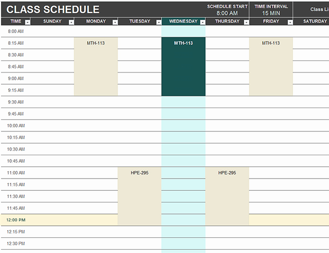 student schedule template 782