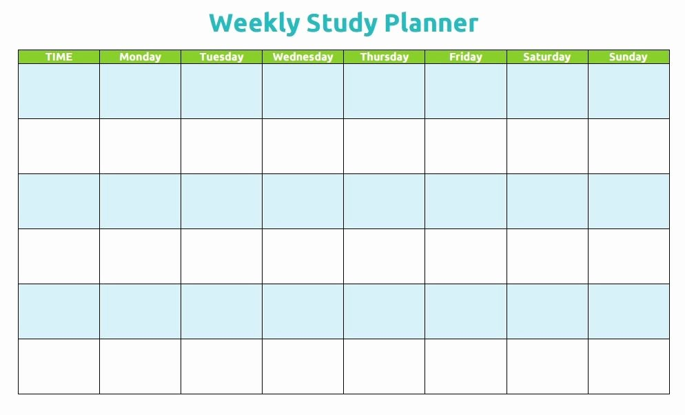 Weekly Study Schedule Template Lovely Printable Weekly Study Planner