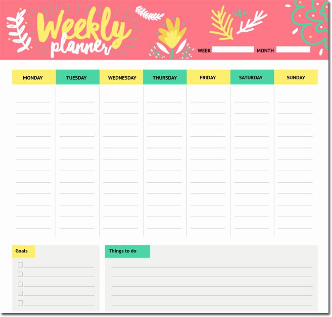 Weekly Study Schedule Template New 10 Students Weekly Itinerary and Schedule Templates