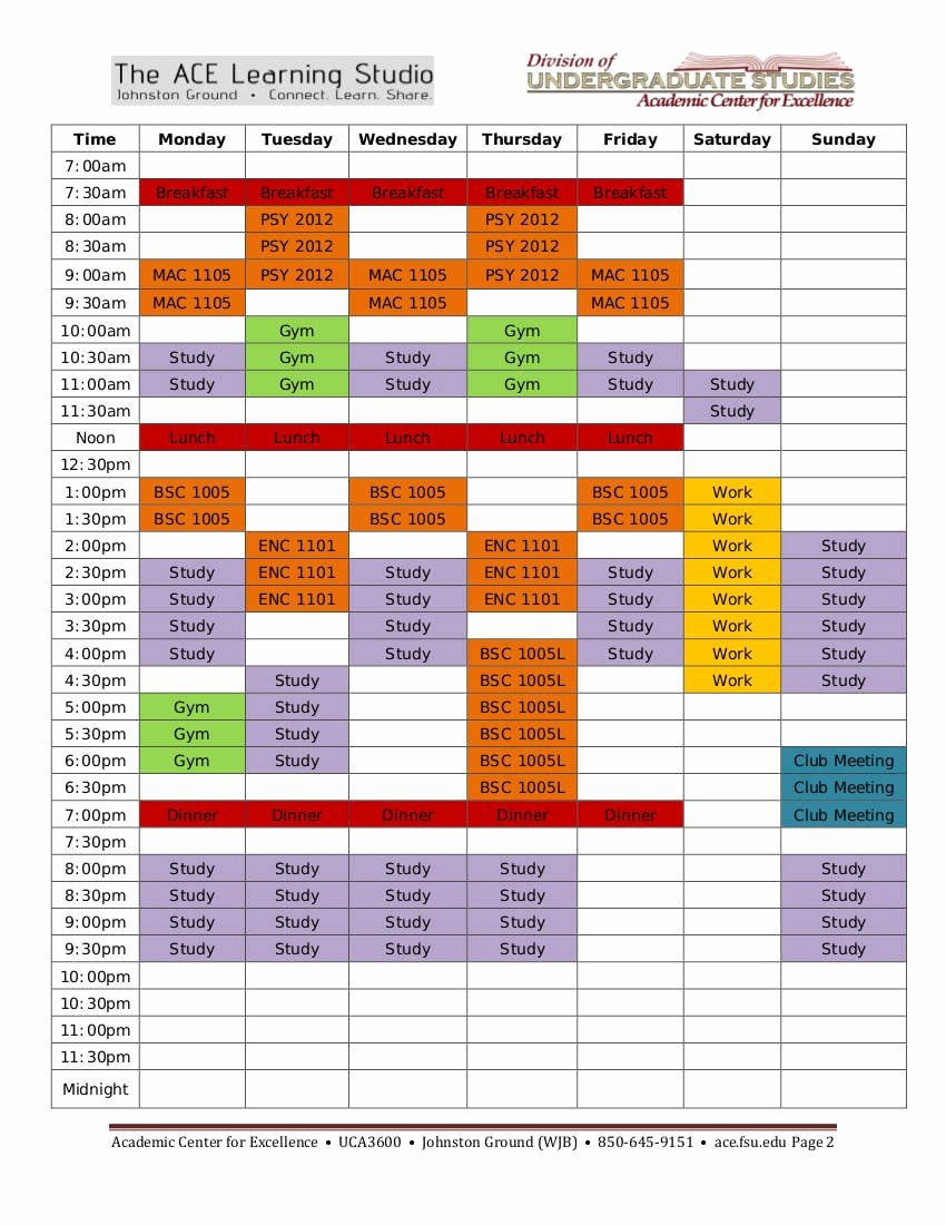 Weekly Study Schedule Template New 9 Study Plan Templates for Students