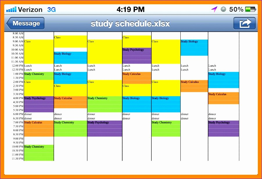 Weekly Study Schedule Template Unique 11 Weekly Planner Excel Template Download Exceltemplates