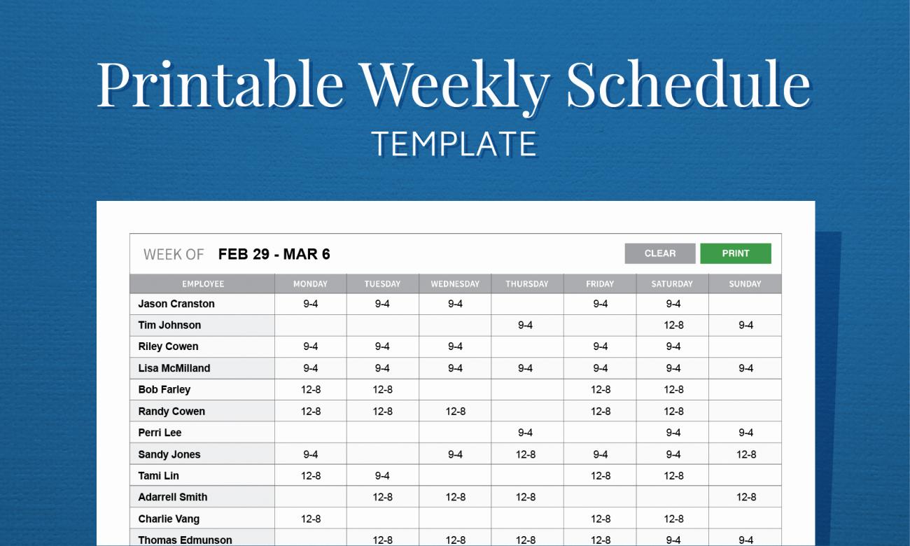 Weekly Work Schedule Template Free Elegant Free Printable Weekly Work Schedule Template for Employee