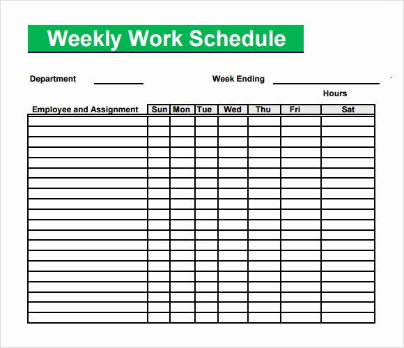 Weekly Work Schedule Template Free New Free 4 Sample Blank Schedule Templates In Pdf