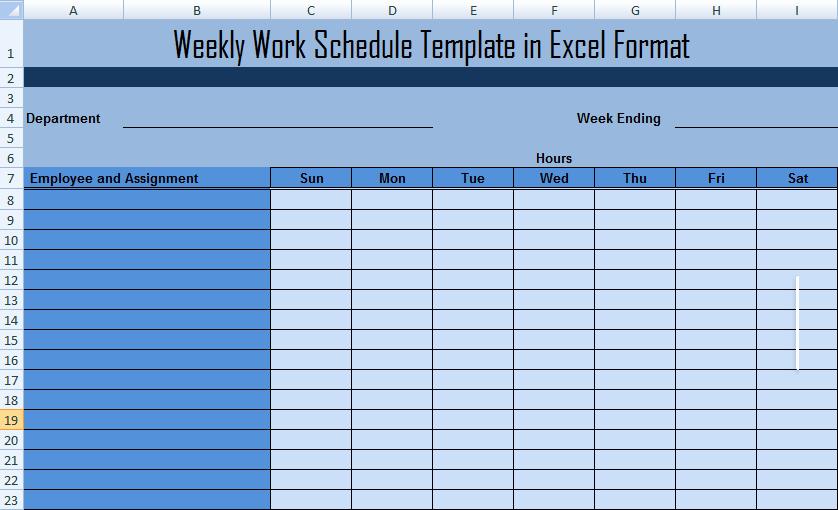 Weekly Work Schedule Template Free New Weekly Work Schedule Template In Excel format