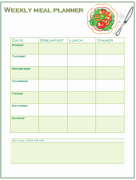 Weight Loss Meal Planner Template Best Of Diet Planner Template Word Diet Plan