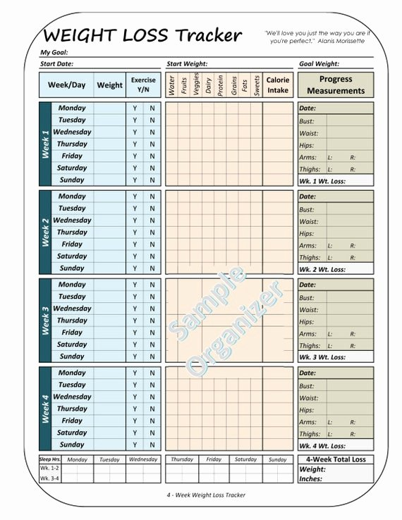 Weight Loss Meal Planner Template Elegant Weight Loss Tracker Printable Weight Loss Planner 4 Week