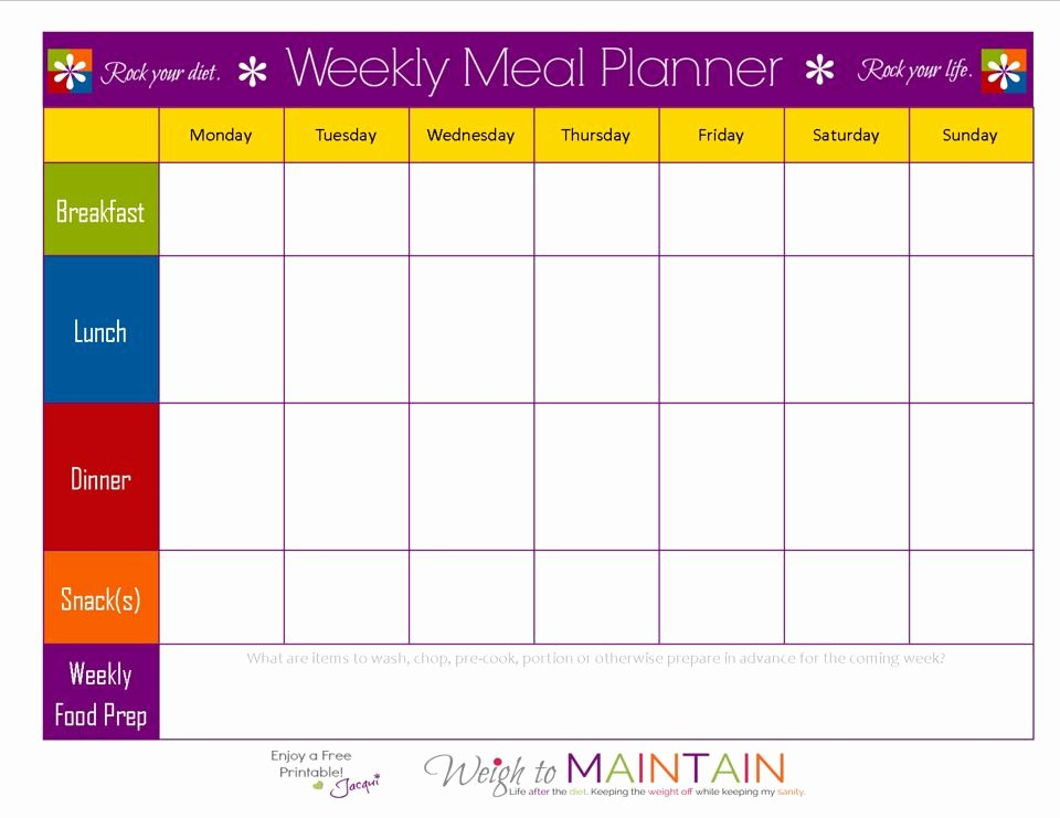 Weight Loss Meal Planner Template Inspirational Blank Weekly Meal Plan Sheet 21 Day Fix In 2019