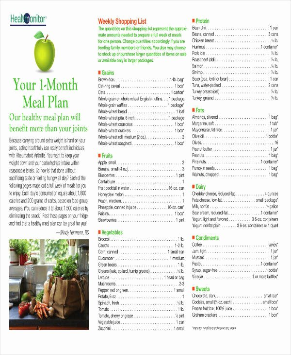 Weight Loss Meal Planner Template Unique 5 30 Day Meal Plan Templates for Weight Loss Pdf