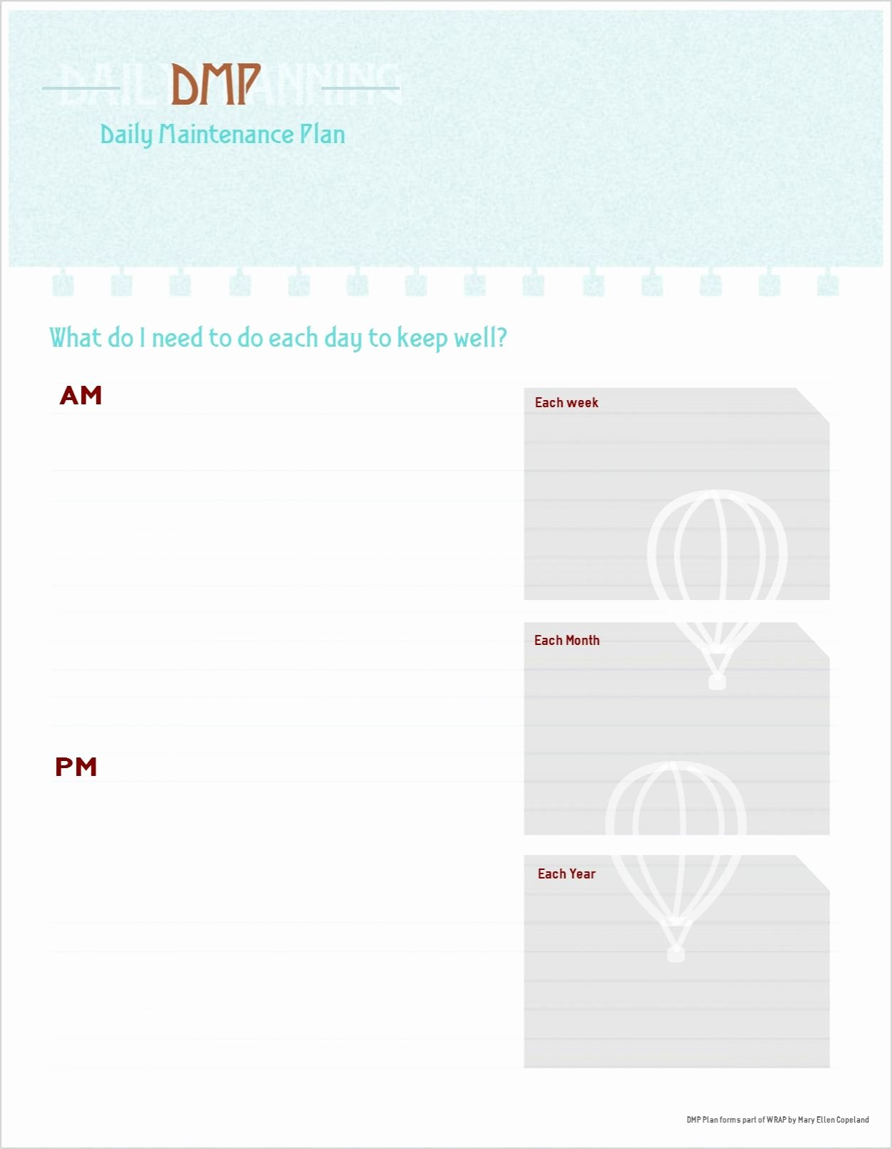 Wellness Recovery Action Plan Template New Daily Maintenance Plan Template Free Printable