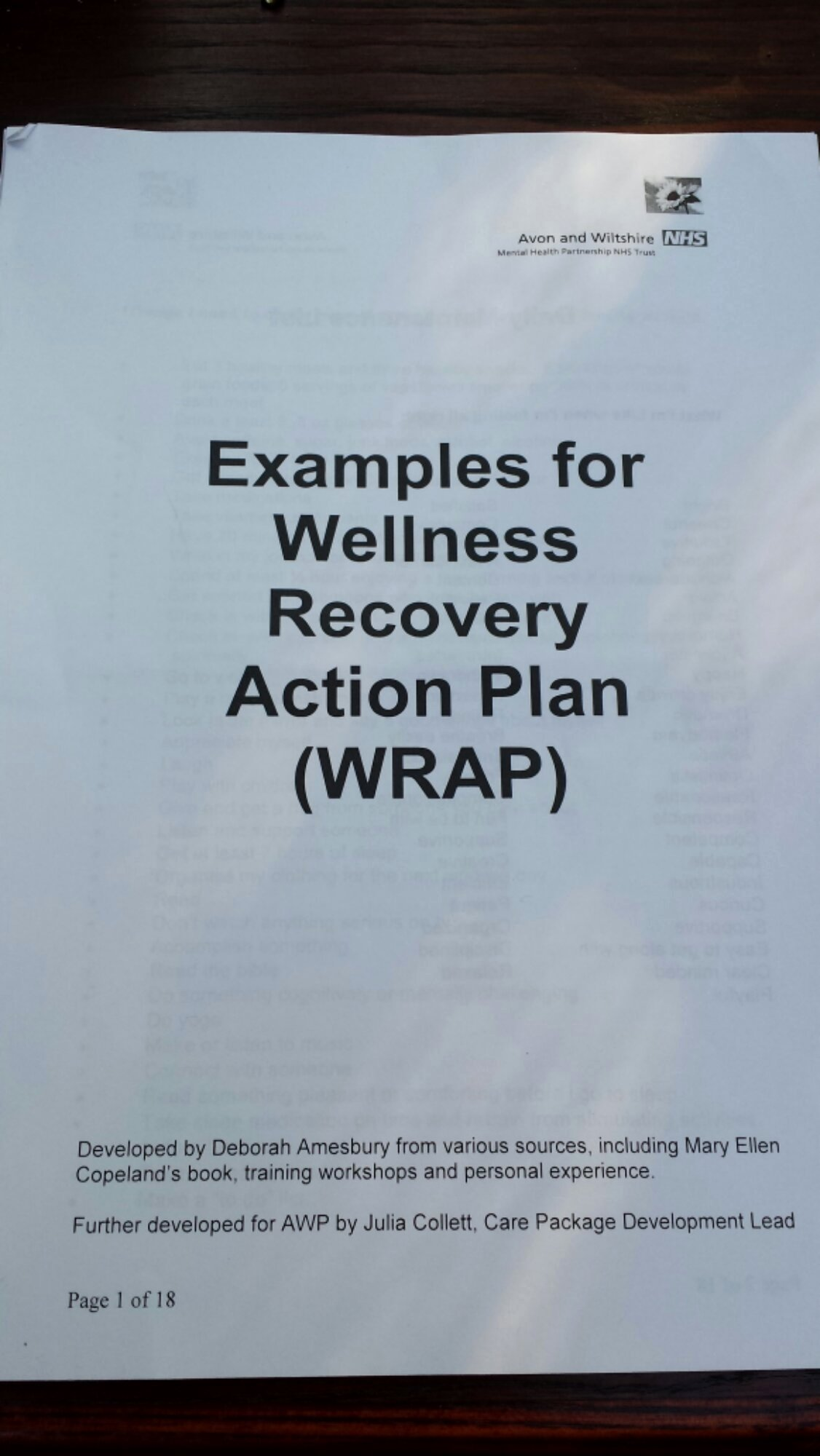 Wellness Recovery Action Plan Template Unique Sample Wrap Wellness Recovery Action Plan