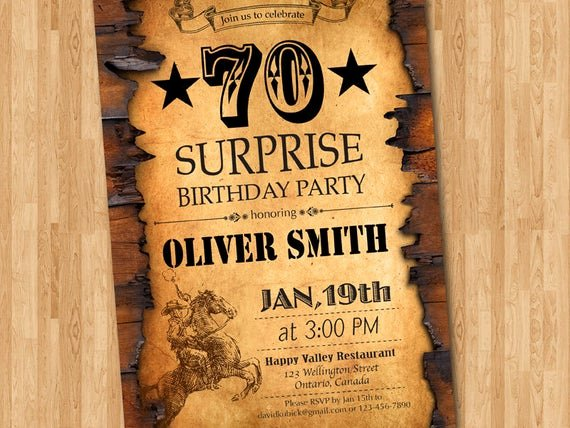 Western Party Invitation Template Beautiful 70th Birthday Invitation Western theme Birthday for Men
