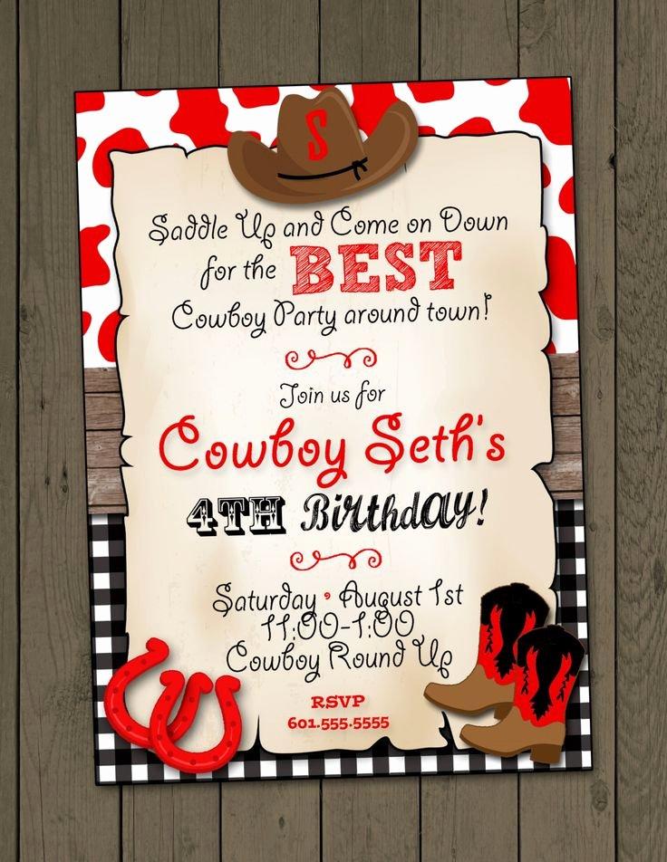 Western Party Invitation Template Beautiful Free Cowboy Birthday Invitations – Free Printable Birthday