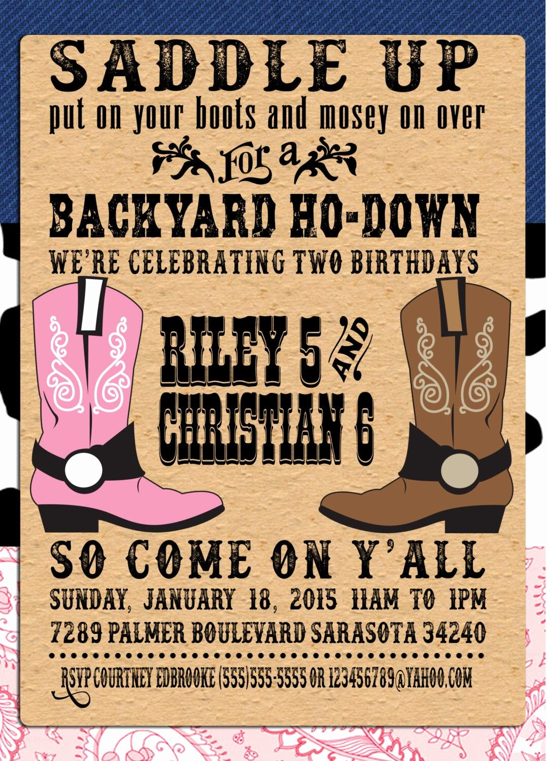 Western Party Invitation Template Beautiful Pin by Crafted by Yudi On Cowboy theme