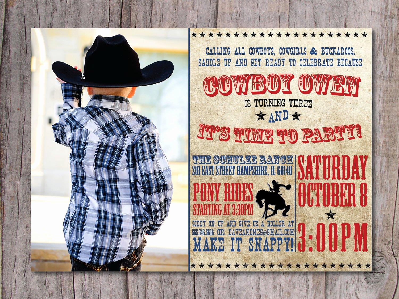 modern cowboy birthday party invitation