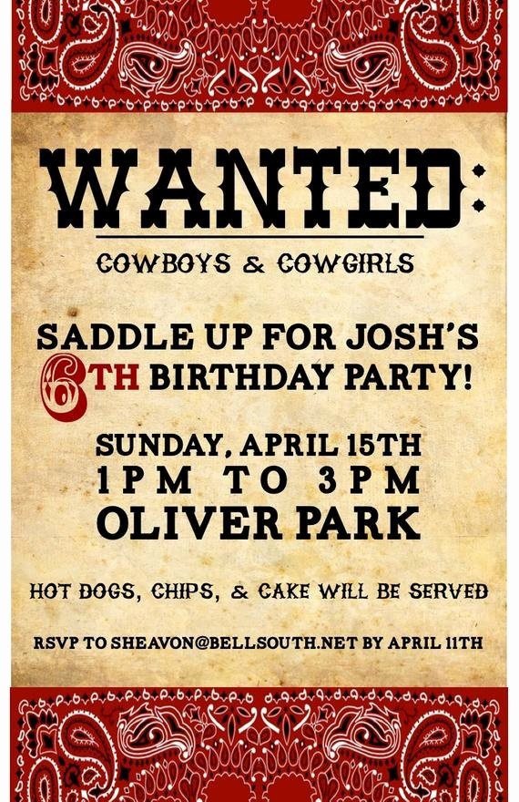 Western Party Invitation Template Fresh Items Similar to Cowboy Western Birthday Invitation