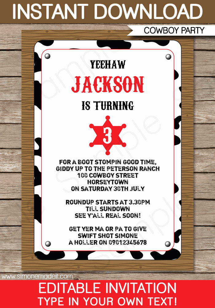 Western Party Invitation Template Inspirational Cowboy Party Invitations Template