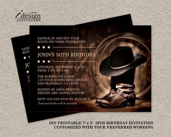Western Party Invitation Template Lovely Country Western 50th Birthday Party Invitation with Cowboy