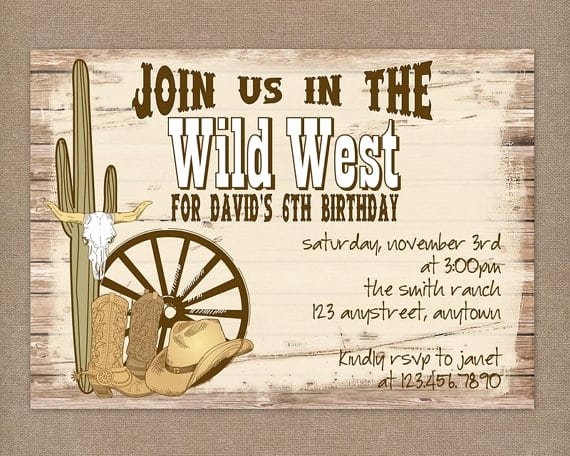 Western Party Invitation Template Lovely Western Party Invitations Printable