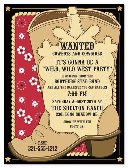 Western Party Invitation Template Unique Cowboy Invitations Template