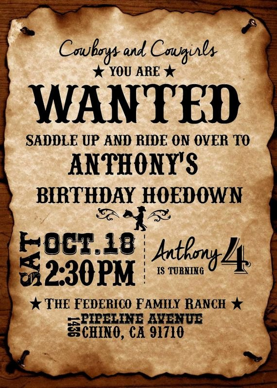 Western Party Invitation Template Unique Western theme Diy Printable Invitation by Brenskreations