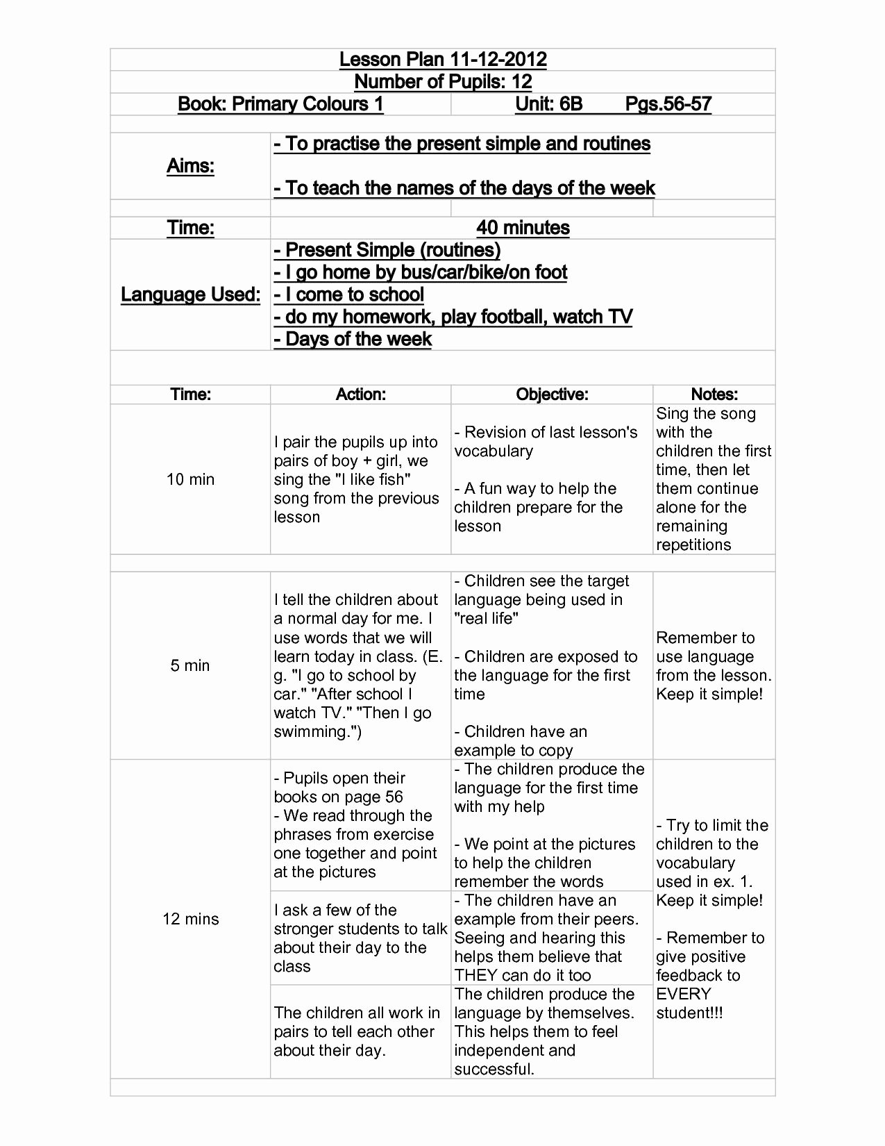 Wida Lesson Plan Template Elegant Celta Grammar Lesson Plan