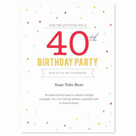 Word Invitation Template Free Awesome 40th Birthday Invitation Template Word