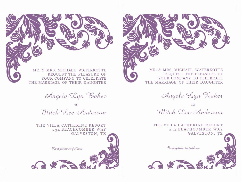 Word Invitation Template Free Best Of Items Similar to Printable Ms Word Wedding Invitation