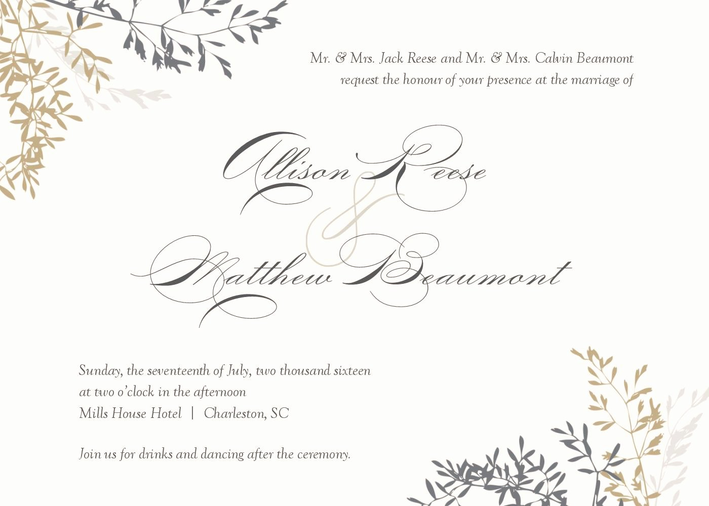 Word Invitation Template Free Elegant Wedding Invitations Template Wedding Invitations