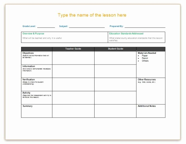 Word Lesson Plan Template Beautiful Lesson Plan Template Word