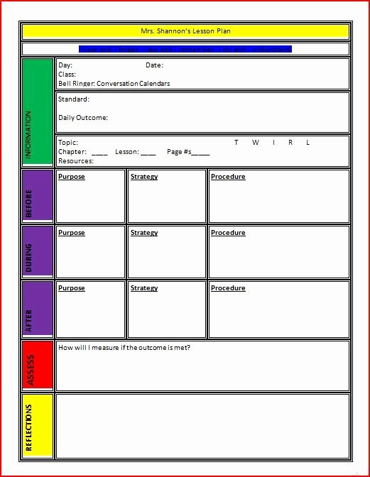 Word Lesson Plan Template Inspirational Lesson Plan Template