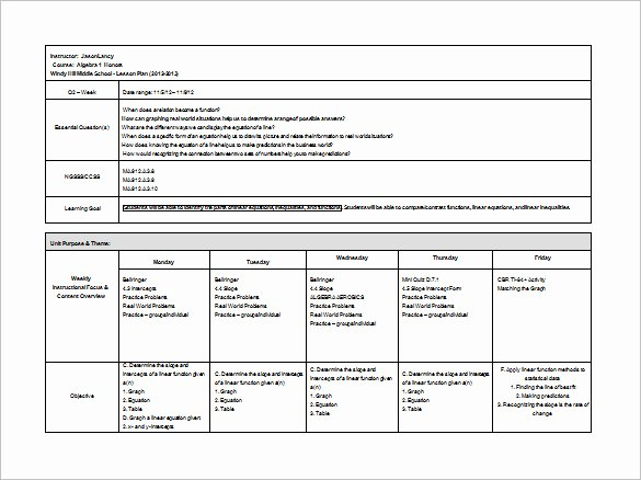 Word Lesson Plan Template Lovely Middle School Lesson Plan Template 7 Free Word Excel