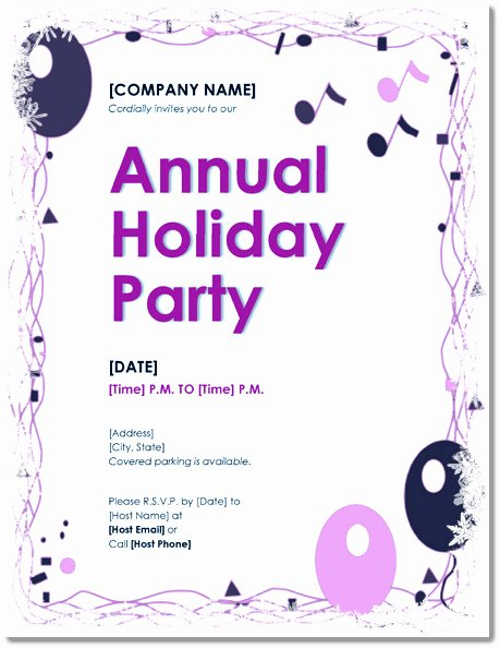 Word Party Invitation Template Beautiful Free Holiday Party Invitations – 9 Templates In Pdf Word
