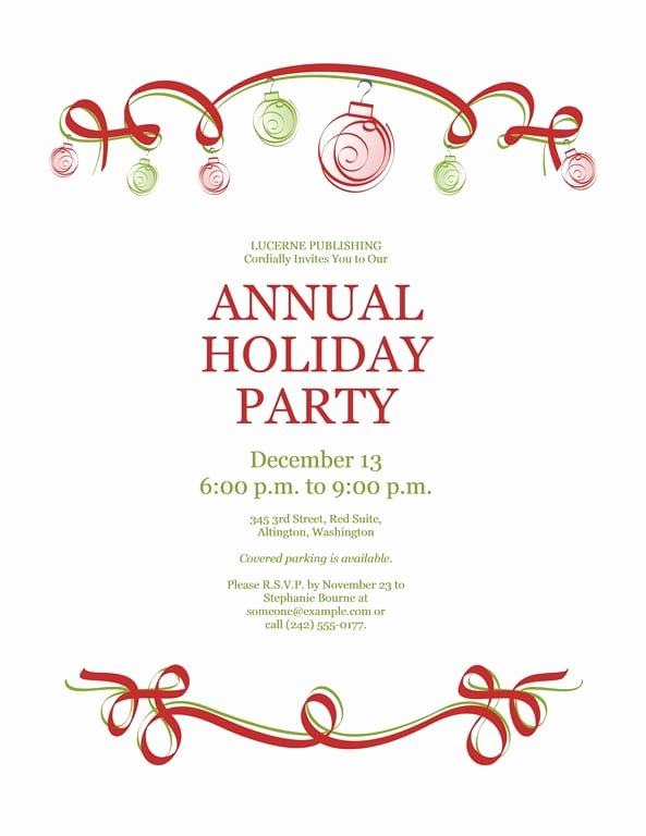Word Party Invite Template Elegant Free Word Christmas Party Invitation Templates