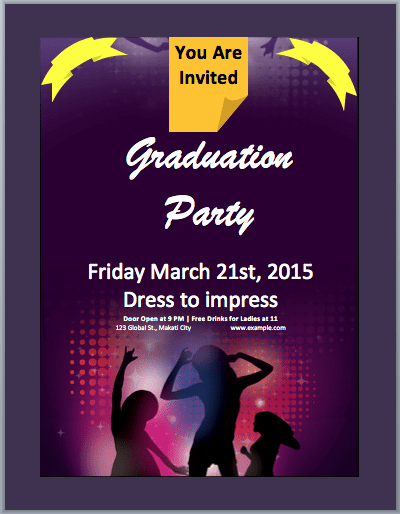 Word Party Invite Template New Graduation Party Invitation Flyer Template – Word