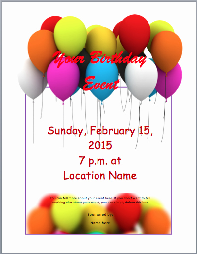 Word Template for Invitations Best Of Birthday Party Invitation Flyer Templates 3 Printable