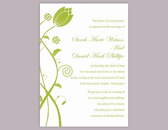 Word Template for Invitations Elegant Diy Wedding Invitation Template Editable Word File Instant