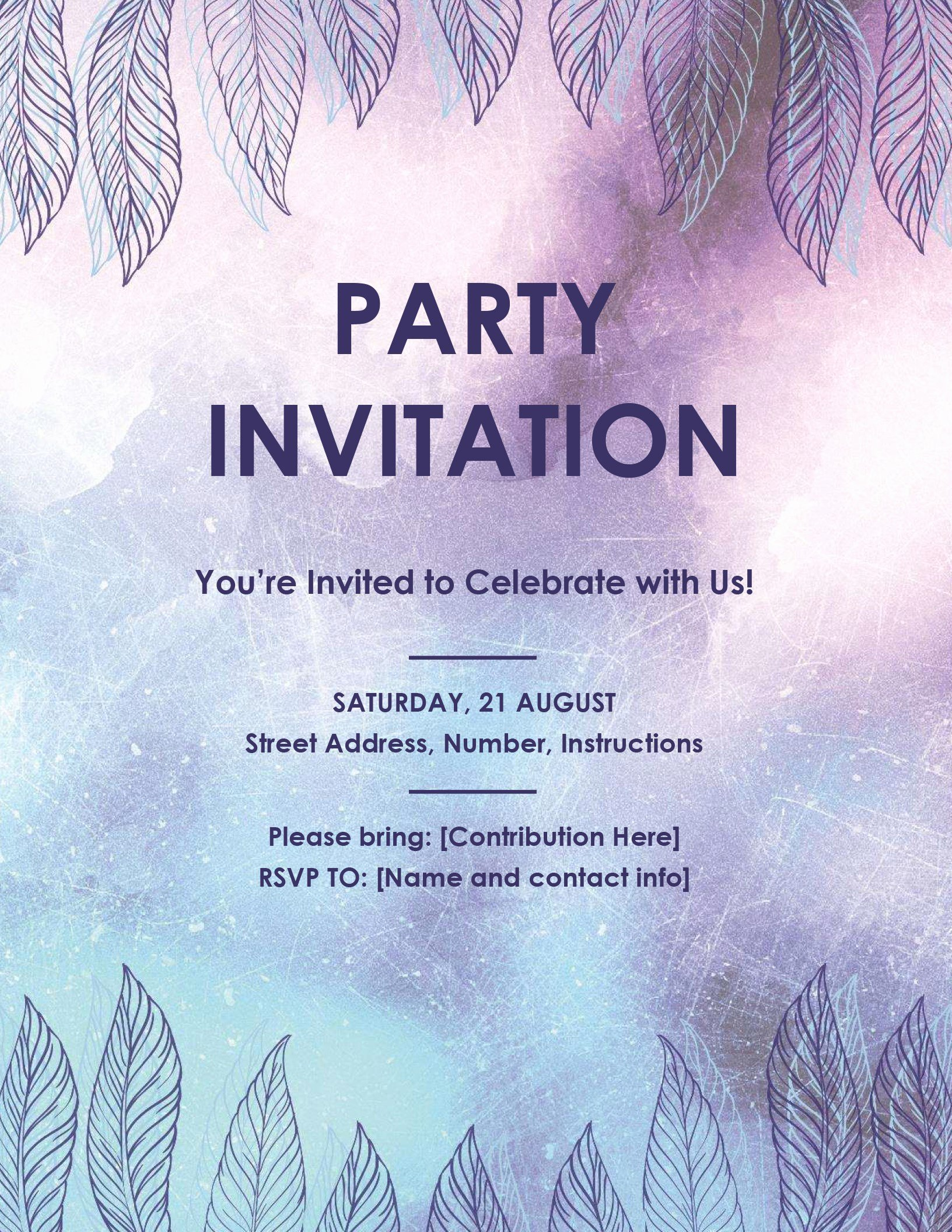 Word Template for Invitations Inspirational Party Invitation Flyer