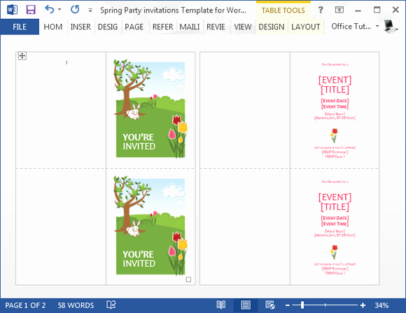 Word Template for Invitations New Spring Party Invitation Template for Word