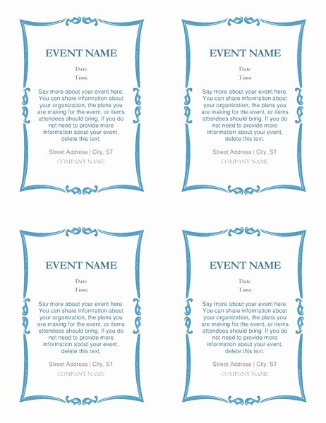 Word Template for Invitations Unique event Invitations 4 Per Page
