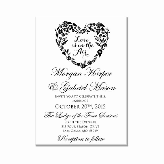 Word Wedding Invitation Template Elegant Wedding Invitation Template Love is In the Air Heart