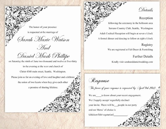 Word Wedding Invitation Template Fresh Diy Wedding Invitation Template Set Editable Word File