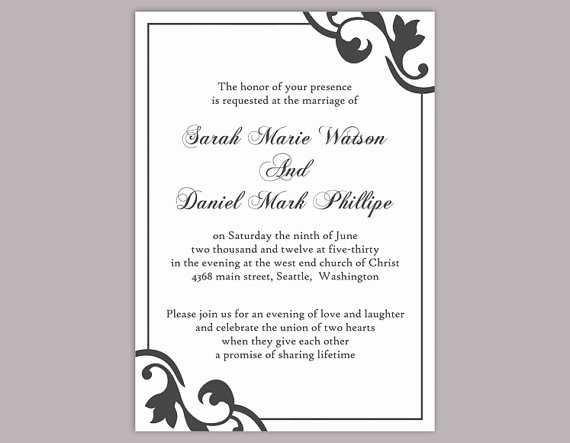 Word Wedding Invitation Template Luxury Diy Wedding Invitation Template Editable Text Word File